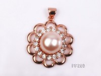 13.5mm Pink Round Freshwater Pearl Pendant with a Gilded Silver Pendant Bail