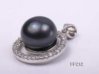 12mm Black Flat Freshwater Pearl Pendant with a Gilded Silver Pendant Bail