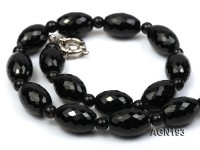 12.5×17.5mm black rice faceted agate necklace