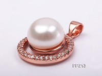 12mm White Flat Freshwater Pearl Pendant with a Gilded Silver Pendant Bail