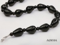 13x17mm black drop shape faceted agate necklace