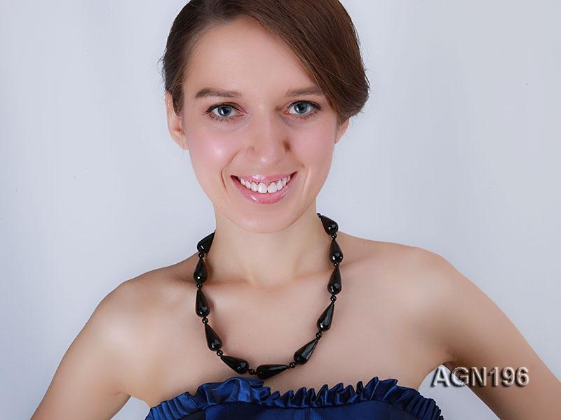 14.5x30mm black drop shape faceted agate necklace