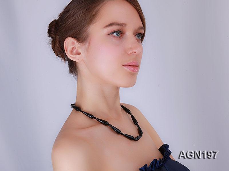 10x30mm black drop shape faceted agate necklace