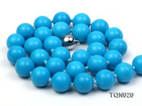 12mm Round Vibrant Bule Turquoise Necklace