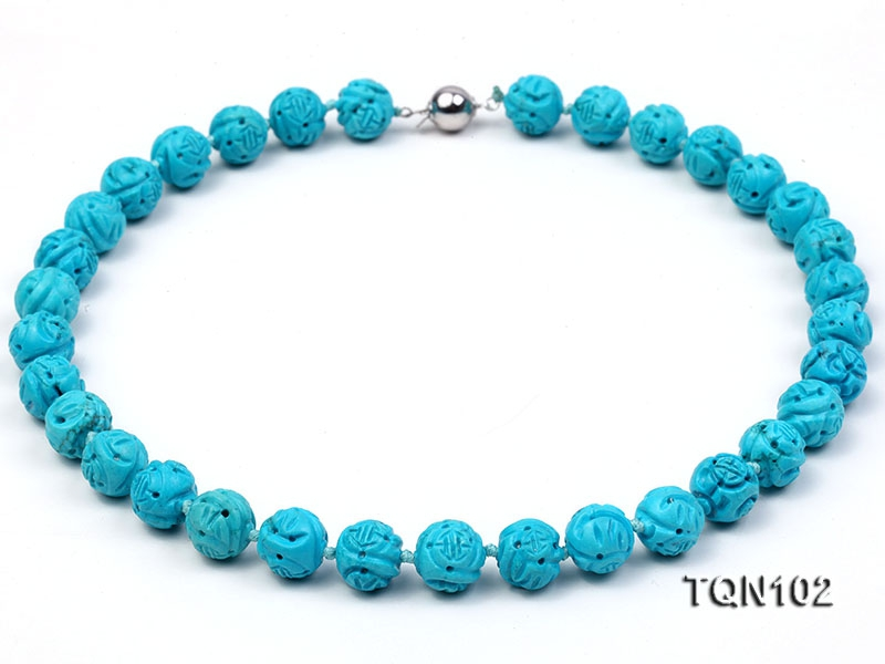 12.5mm Bule Round Faceted Turquoise Necklace