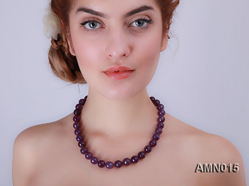 12mm Round Faceted Amethyst Beads Necklace