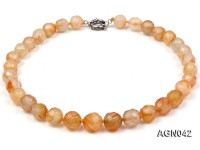 14mm yellow round faceted agate necklace