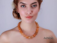 17mm yellow round faceted agate necklace