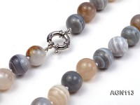 14mm multicolor  round agate necklace