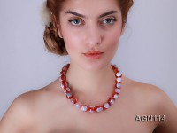 15.5mm red with cream overtone round agate necklace