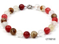 18mm Round Faceted Cherry Quartz Crystal and Tiger-Eye Stone Necklace