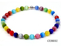 14mm Colorful Round Faceted Cat's Eye Beads Necklace
