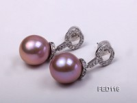 13mm Lavender Round Freshwater Pearl Earring