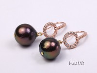 14mm Dark-brown Round Freshwater Pearl Earring