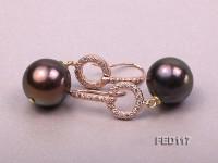 14mm Dark-brown Round Freshwater Pearl Earring