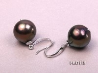 13mm Dark-brown Round Freshwater Pearl Earring