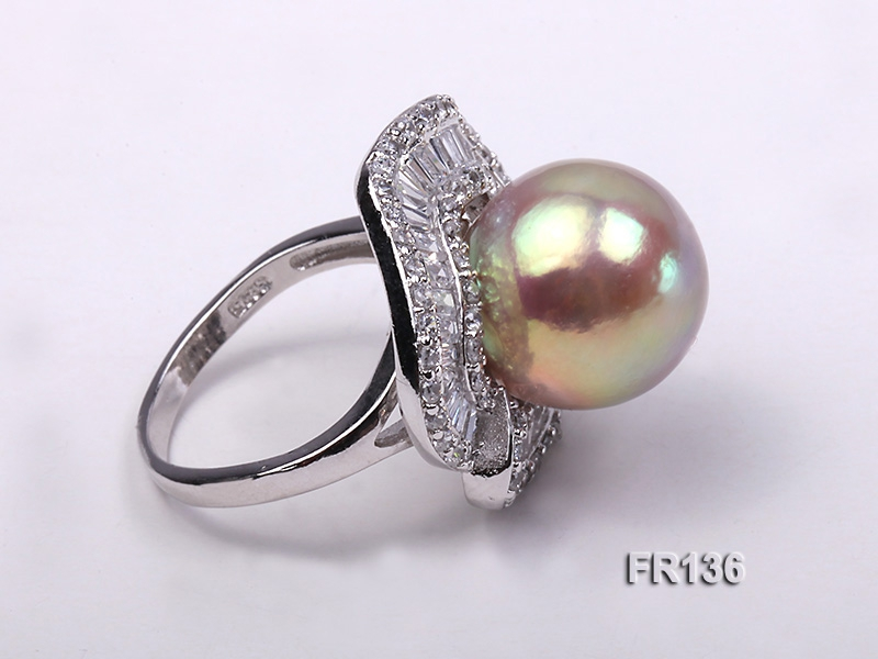 Luxurious 14mm Top Shiny Pearl Ring with Sterling Silver