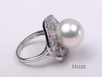 Luxurious 15mm White Round Top Lustrous Pearl Ring with Sterling Silver setting