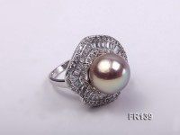 Luxurious 15mm Top Shiny Pearl Ring with Sterling Silver