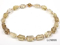 11x17mm Faceted Lemon Quartz Beads and 4mm Rock Crystal Beads Necklace