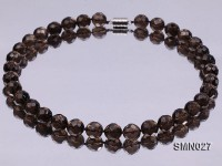12mm Round Faceted Smoky Quartz Beads Necklace