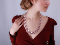 Round Faceted Rock Crystal Beads and Round Amethyst Beads Necklace