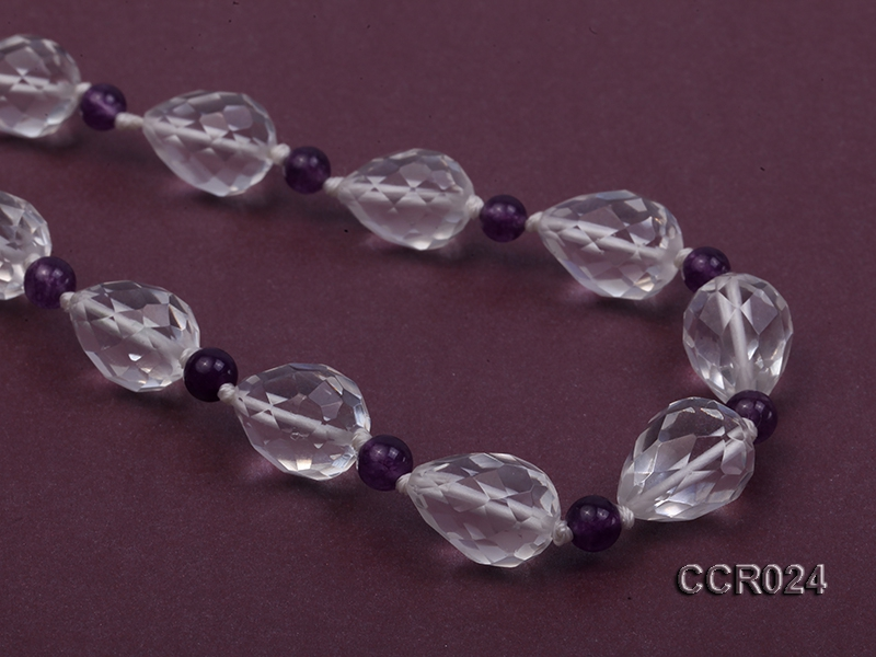Drop-shaped Faceted Rock Crystal Beads and Round Amethyst Beads Necklace