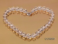 12mm Round Faceted Rock Crystal Beads Necklace