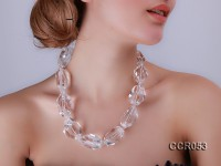 20x30mm Irregular Faceted Rock Crystal Necklace