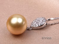 12-13mm Golden South Sea Pearl Pendant with 925 Sterling Silver