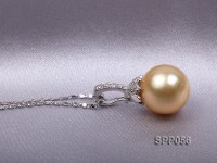 12.5mm Golden South Sea Pearl Pendant with 925 Sterling Silver