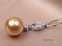 12mm Golden South Sea Pearl Pendant with 925 Sterling Silver