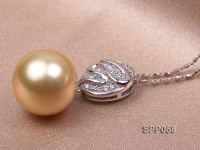 13.5mm Golden South Sea Pearl Pendant with 925 Sterling Silver