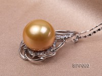 14mm Golden South Sea Pearl Pendant with 925 Sterling Silver