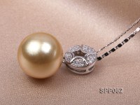 13.2mm Golden South Sea Pearl Pendant with 925 Sterling Silver