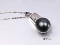 13.5mm Gorgeous Tahitian Pearl Pendant with Sterling Silver