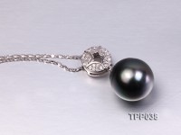 13x15mm Gorgeous Tahitian Pearl Pendant with Sterling Silver