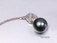 14mm Gorgeous Tahitian Pearl Pendant with Sterling Silver