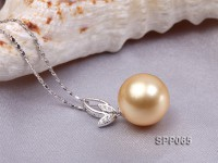 14.2mm Golden South Sea Pearl Pendant with 18k Gold