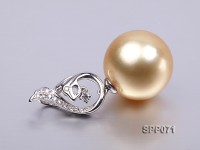 13.7mm Golden South Sea Pearl Pendant with 18k Gold