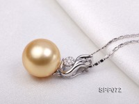 14mm Golden South Sea Pearl Pendant with 18k Gold