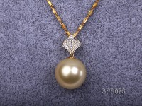 15mm Golden South Sea Pearl Pendant with 18k Gold