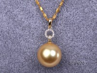 14.5mm Golden South Sea Pearl Pendant with 18k Gold