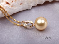 13.8mm Golden South Sea Pearl Pendant with 18k Gold