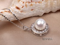 12.5mm White South Sea Pearl Pendant with 925 Sterling Silver and Zircon