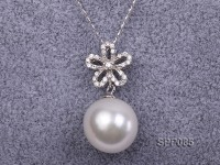 14.2x15mm White South Sea Pearl Pendant with 925 Sterling Silver and Zircon