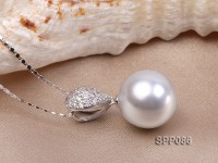 16mm White South Sea Pearl Pendant with 925 Sterling Silver and Zircon