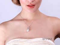14.5mm White South Sea Pearl Pendant with 925 Sterling Silver and Zircon