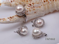 10.5-13mm White Freshwater Pearl Pendant, Ring and Earrings Set