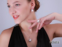 12.5-13mm White Freshwater Pearl Pendant, Ring and Earrings Set